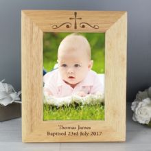 Personalised Religious Swirl 5x7 Wooden Photo Frame P0111B39
